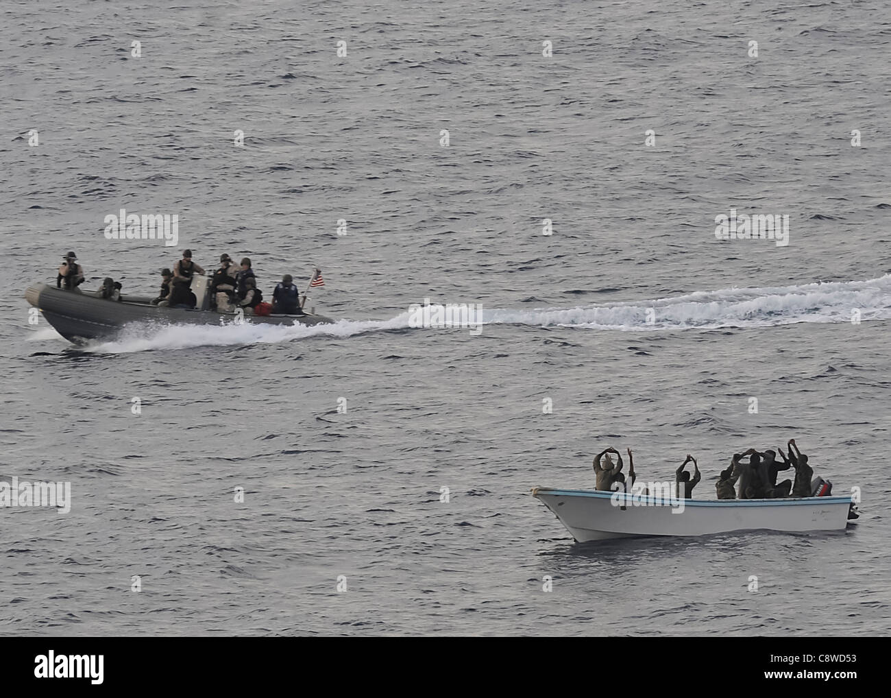 task force conducting counterpiracy operations to detect and deter piracy in and around the Gulf of Aden, Arabian - Stock Image