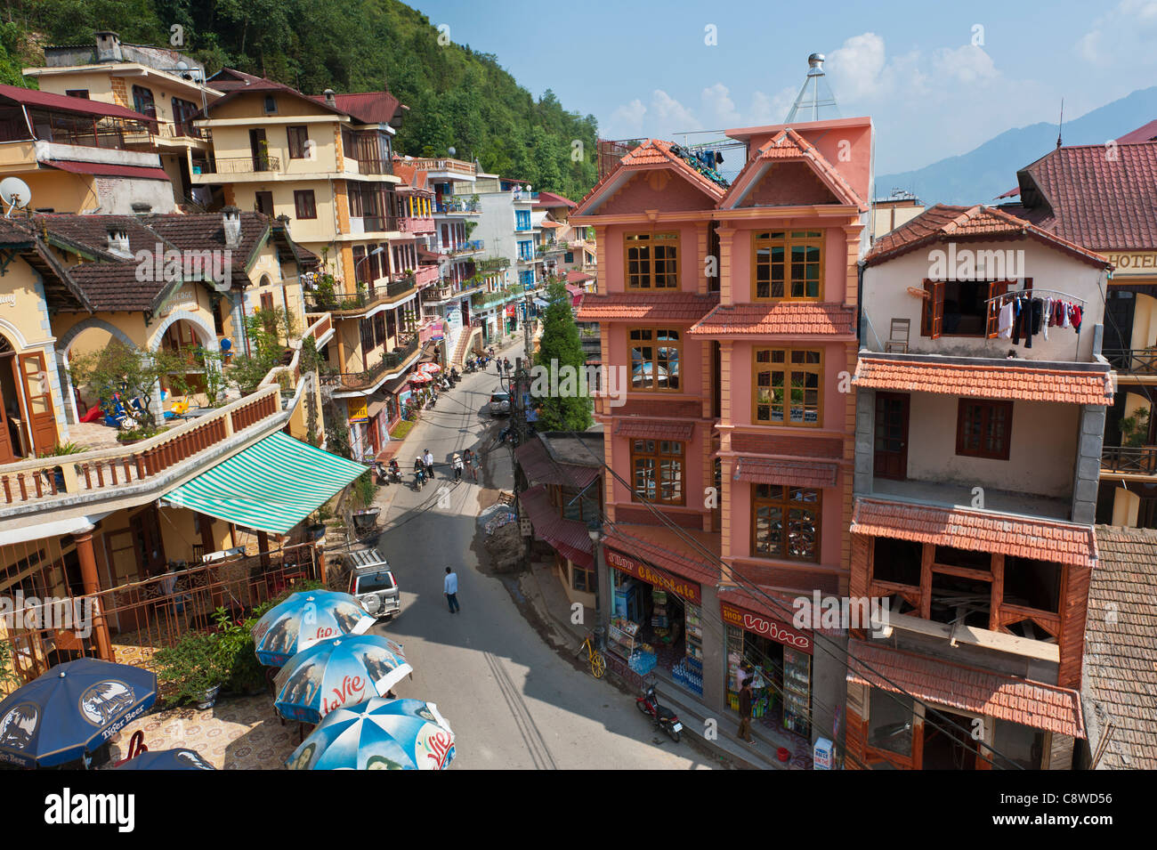 Sapa, center of tourism in the mountains, North Vietnam - Stock Image