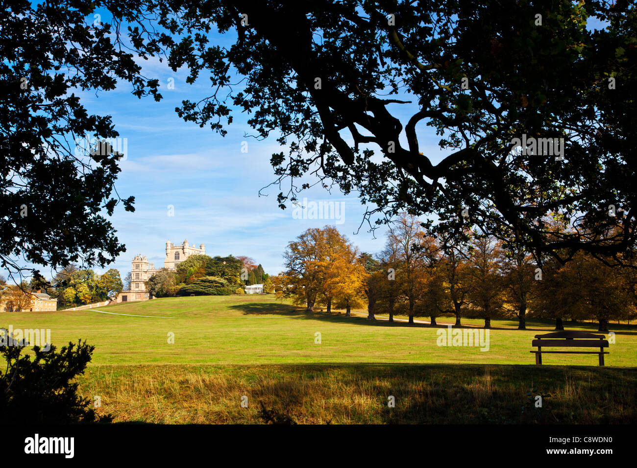 A sunny autumn day at Wollaton Hall and Park, Nottingham, Nottinghamshire, England, UK - Stock Image