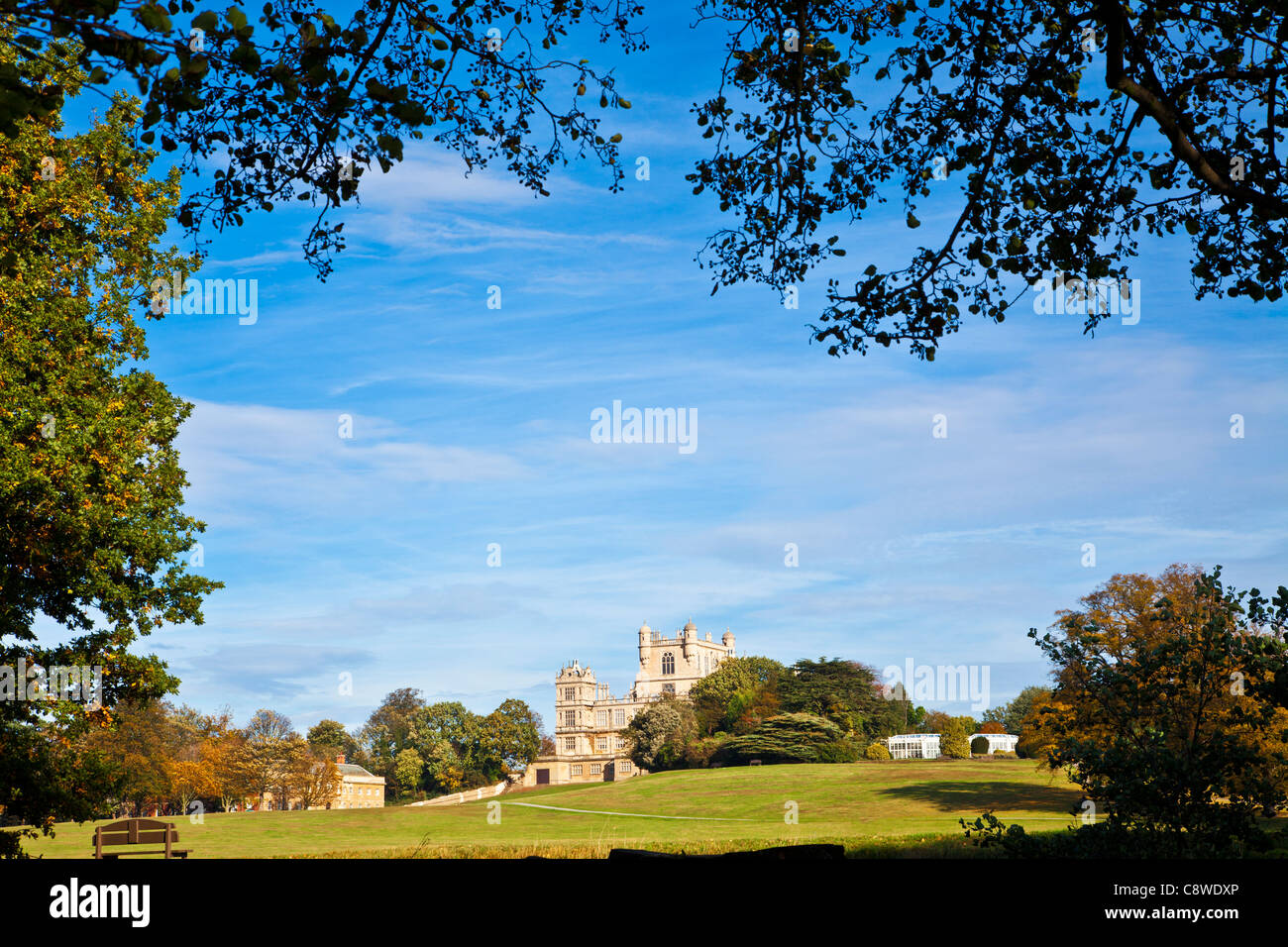 A sunny autumn day at Wollaton Hall and Park, Nottingham, Nottinghamshire, England, UK - Stock Image