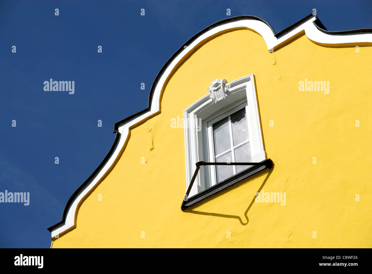 Yellow gable of an old house in Altenahr (Germany). - Stock Image