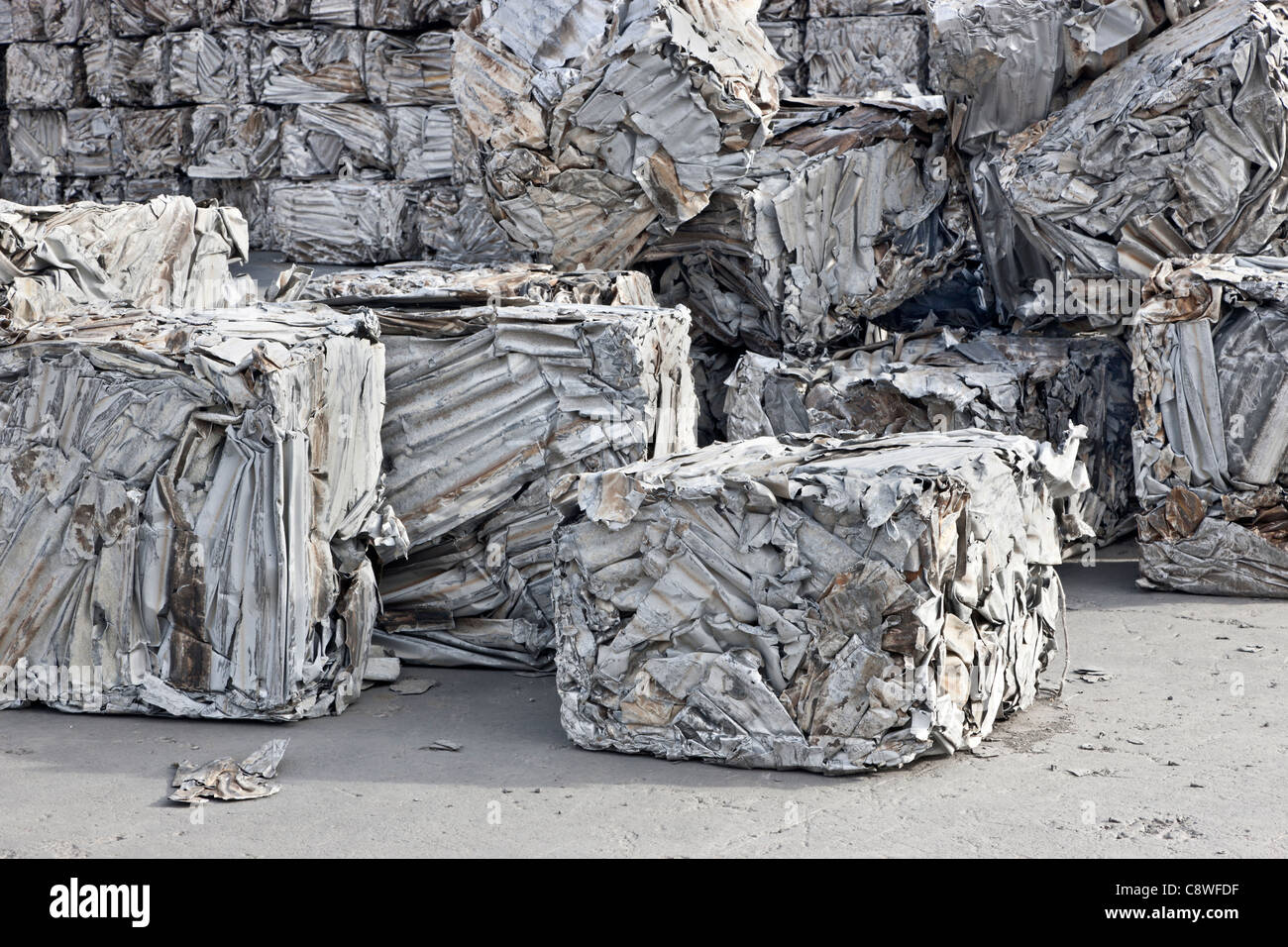 Recycling, aluminum compacted sheeting - Stock Image