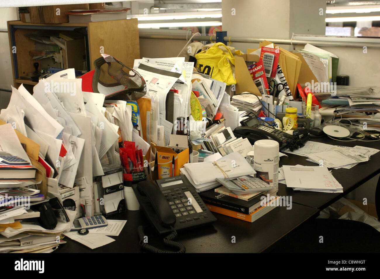 Messy Work Space - Stock Image