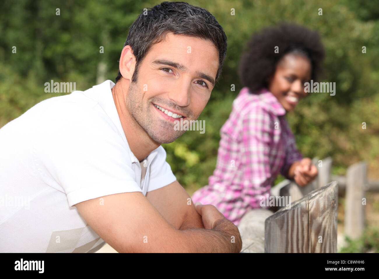 couple on a walk in the country Stock Photo
