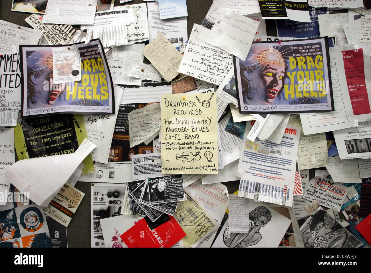 Adverts on a Music Shop Notice Board - Stock Image