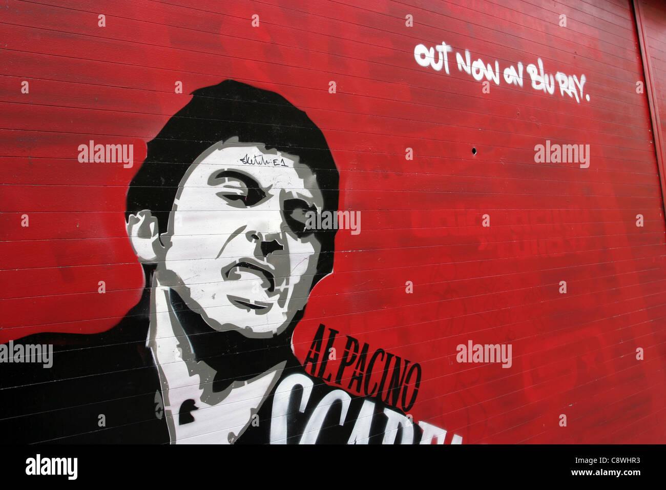 Al Pacino Scarface Blu Ray Graffiti Street Art Advertisement - Stock Image