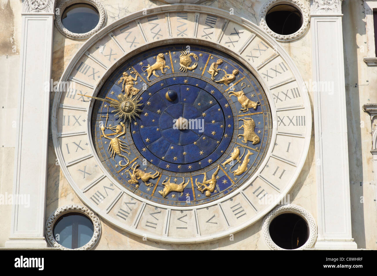 Venice - the astrological clock, San Marco. 24 hour face with star signs. - Stock Image