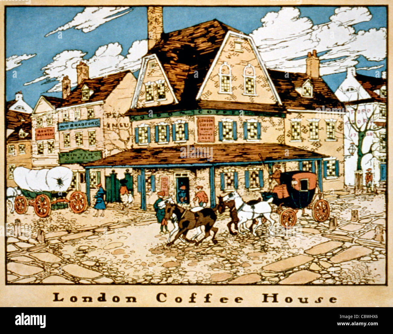 London Coffee House - Pre-Revolutionary taverns and inns in Philadelphia, Pennsylvania - Stock Image