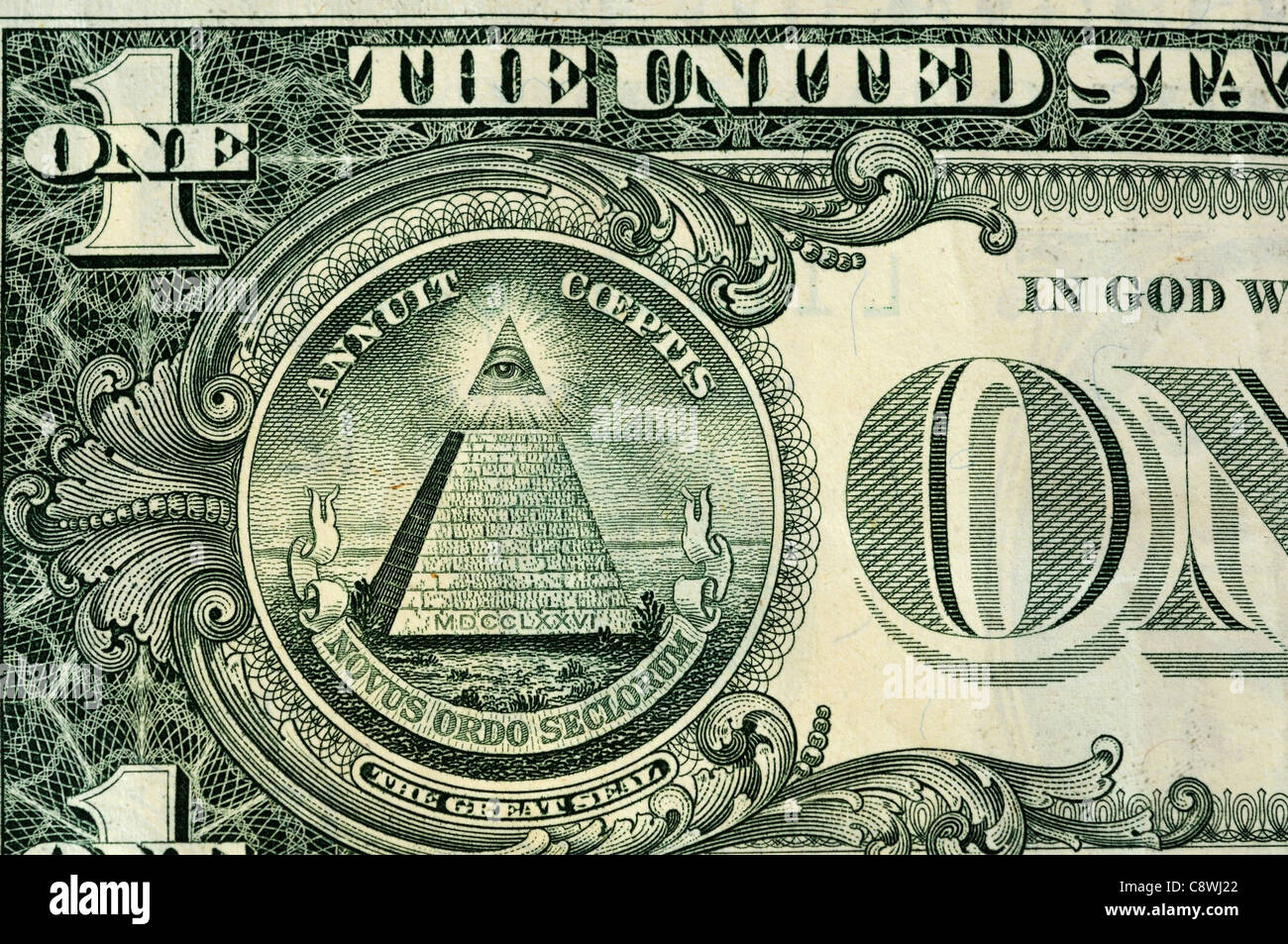 The pyramid Great Seal on the US dollar - Stock Image