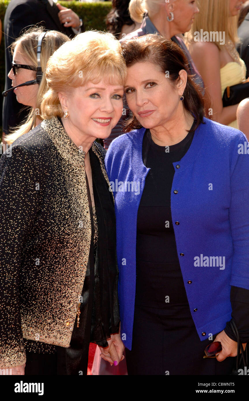 Carrie Fisher Debbie Reynolds arrivals Primetime Creative Arts Emmy Awards Nokia Theatre L.A LIVE Los Angeles CA - Stock Image