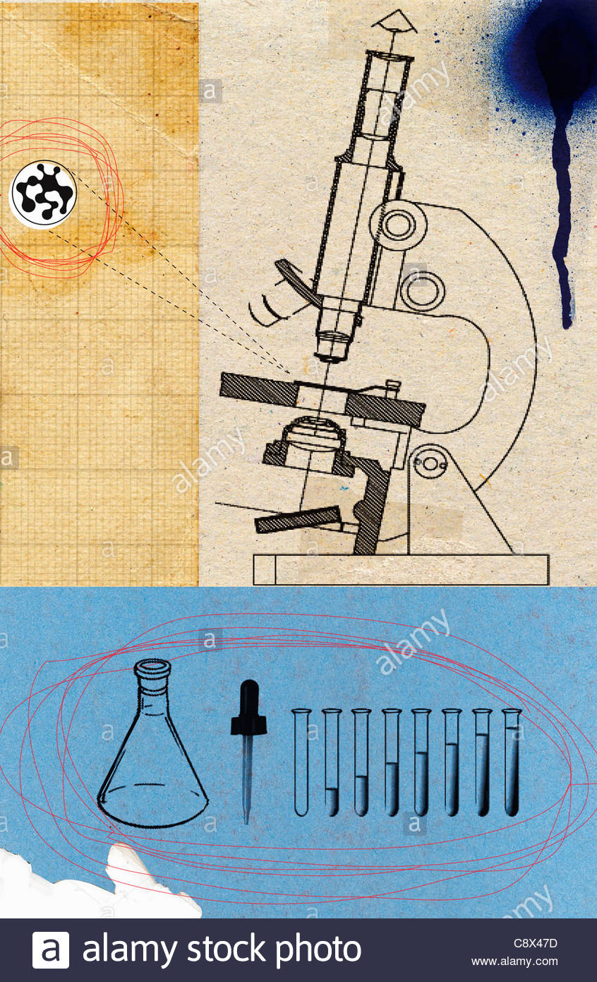 Microscope with beakers and test tubes Stock Photo