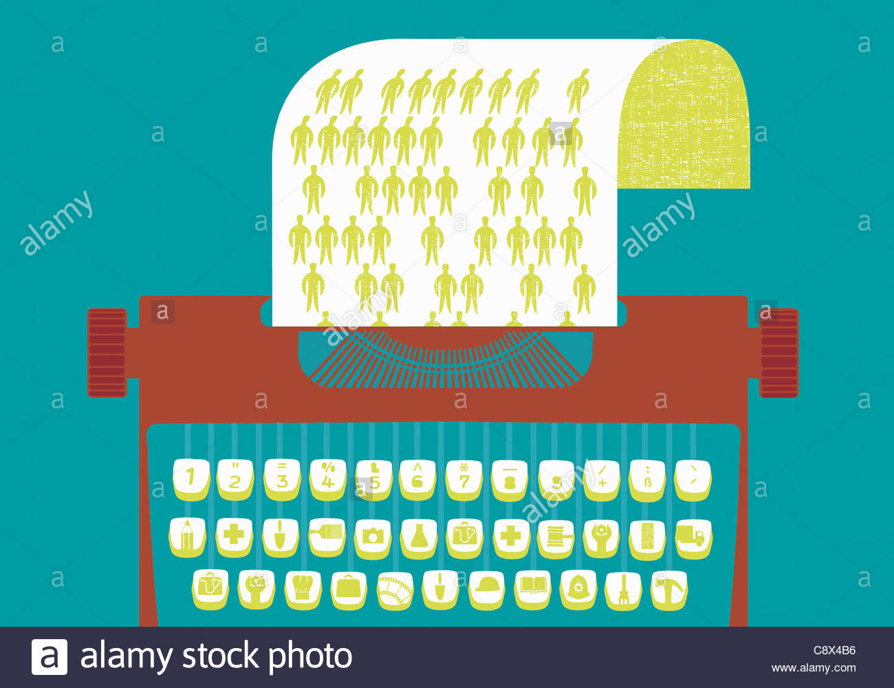 Typewriter with graphics keys representing occupations - Stock Image