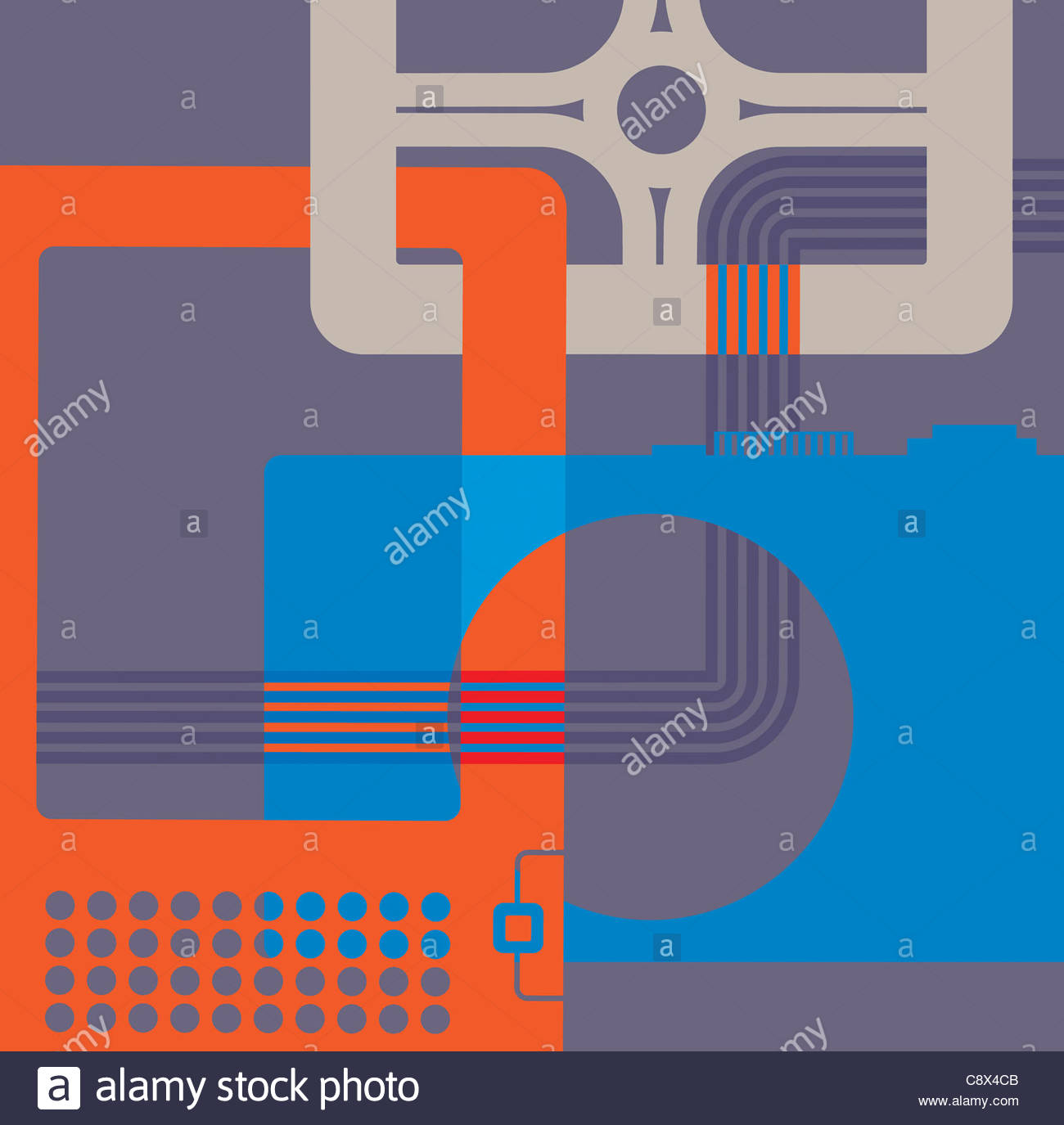 Pattern of digital technology gadgets - Stock Image