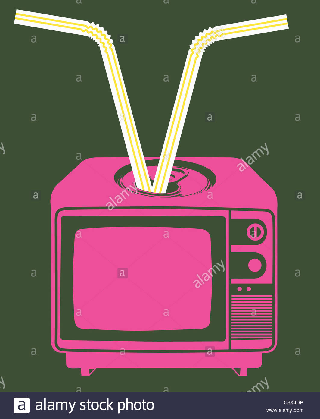 Drinking straws coming out of television - Stock Image