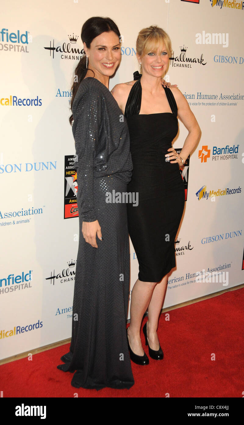Michelle Forbes Kristin Bauer arrivals American Humane Association Hero Dog Awards Beverly Hilton Hotel Los Angeles - Stock Image