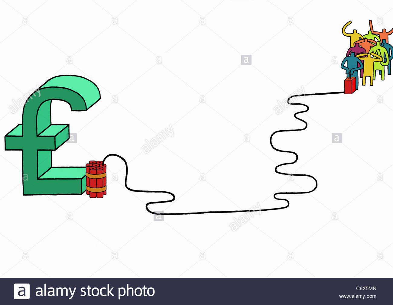 People Blowing Up British Pound Symbol With Dynamite Stock Photo