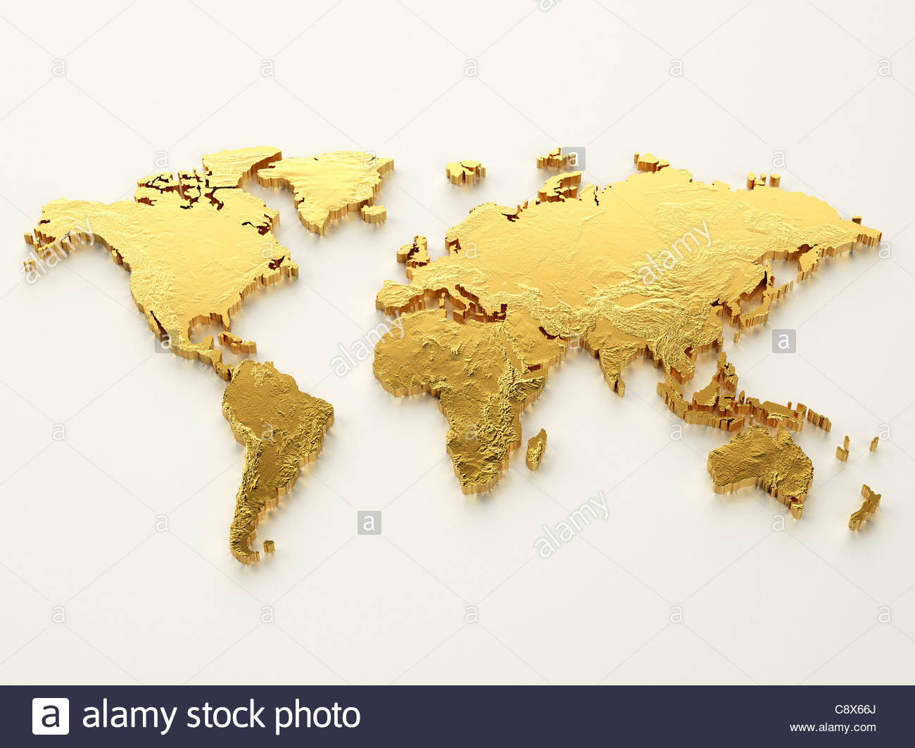 Gold world map on white background Stock Photo 39913626 Alamy