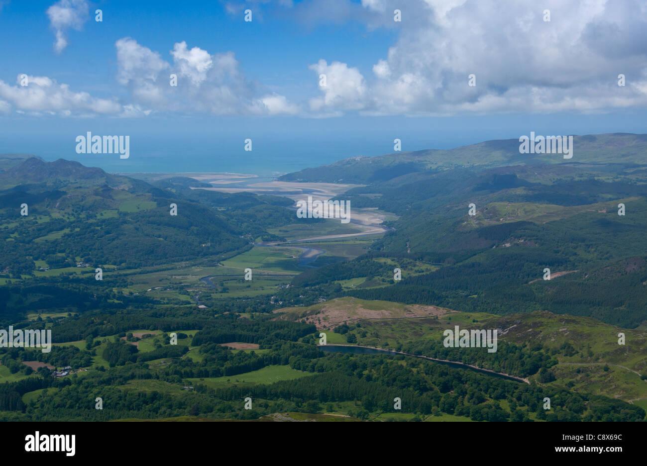 Mawddach estuary aerial view from near Dolgellau Snowdonia National Park Gwynedd Wales UK Stock Photo