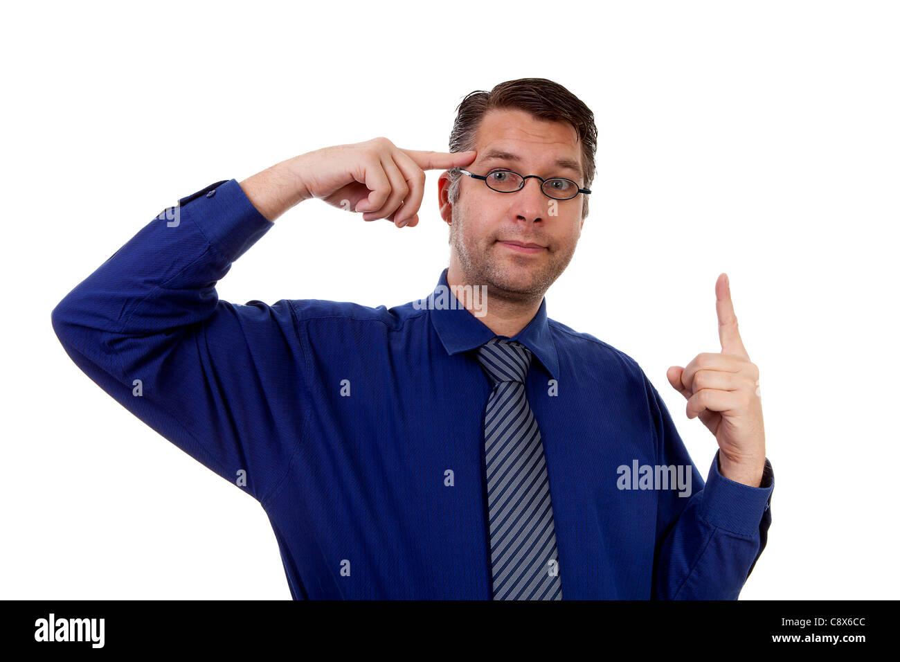 eureka, male nerdy geek has a brainwave over white background Stock Photo