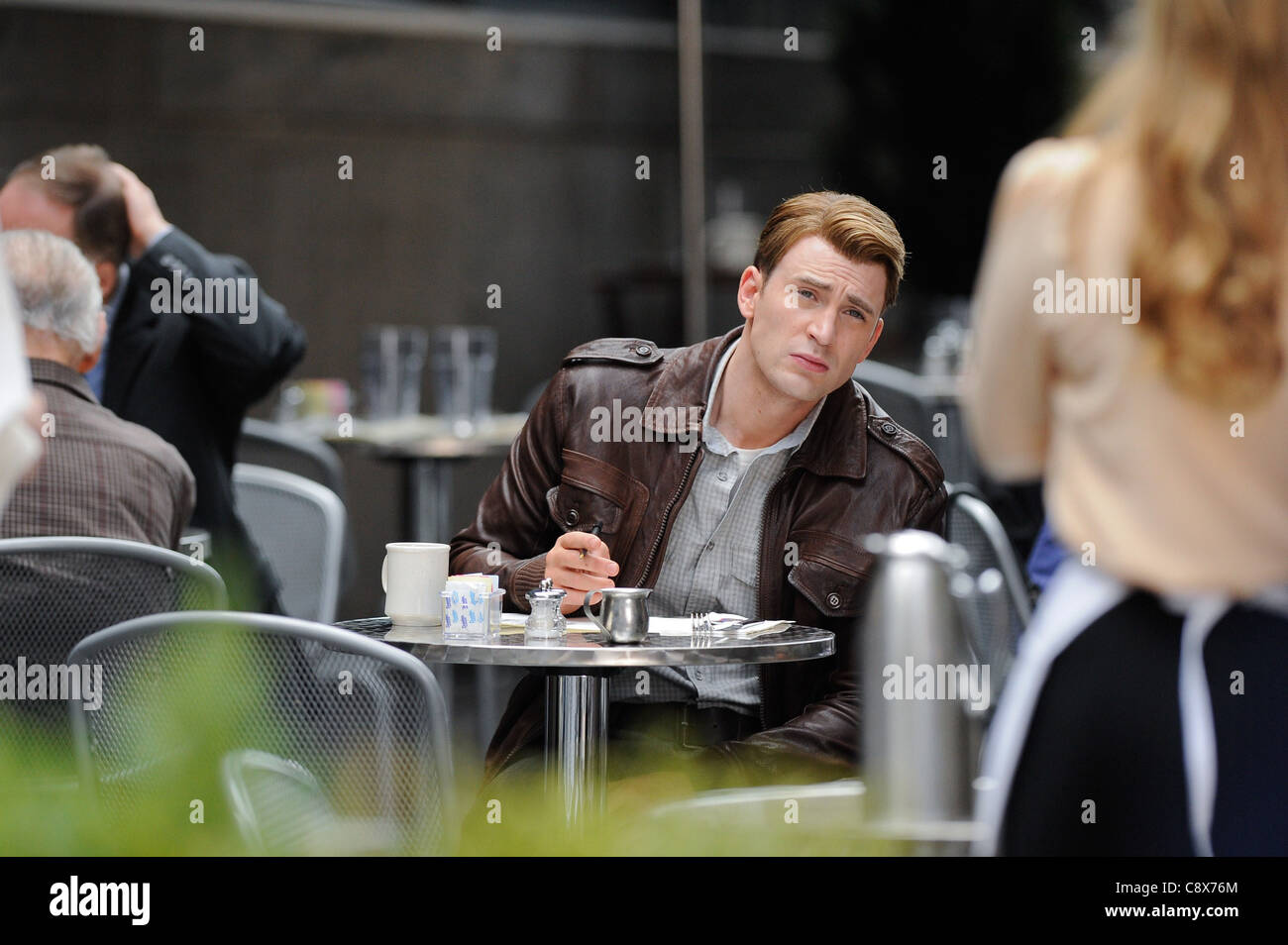 Chris Evans films scene ''The Avengers'' movie set Pershing Square restaurant out about CELEBRITY - Stock Image