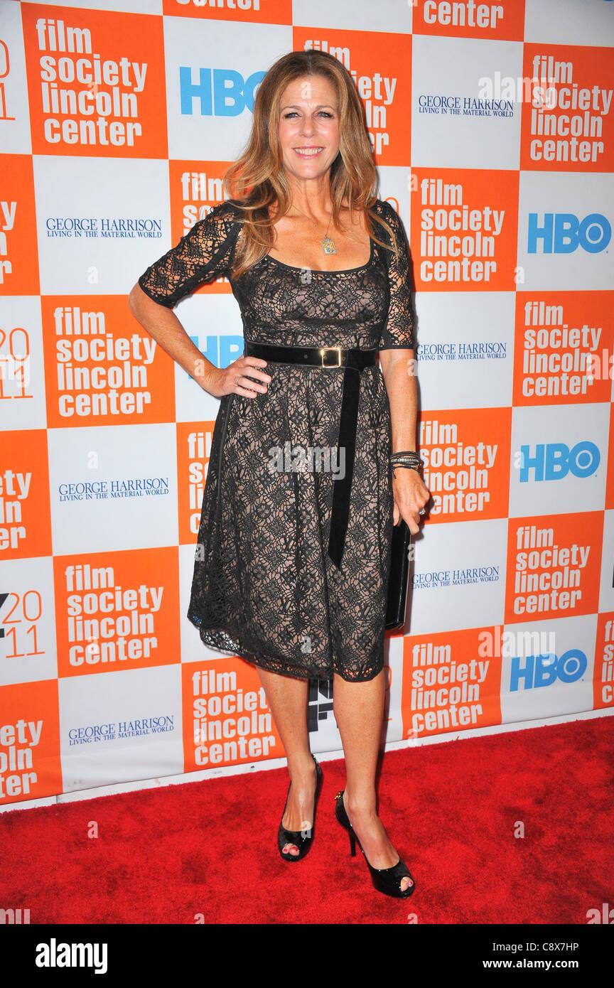 Rita Wilson arrivals GEORGE HARRISON LIVING INMATERIAL WORLD Premiere49th New York Film Festival NYFF Alice Tully - Stock Image
