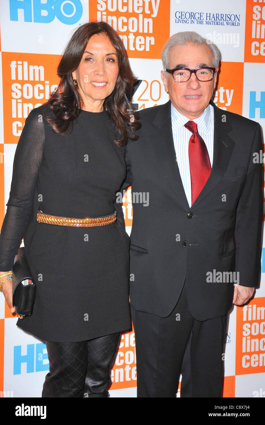 Olivia Harrison Martin Scorsese arrivals GEORGE HARRISON LIVING INMATERIAL WORLD Premiere49th New York Film Festival - Stock Image