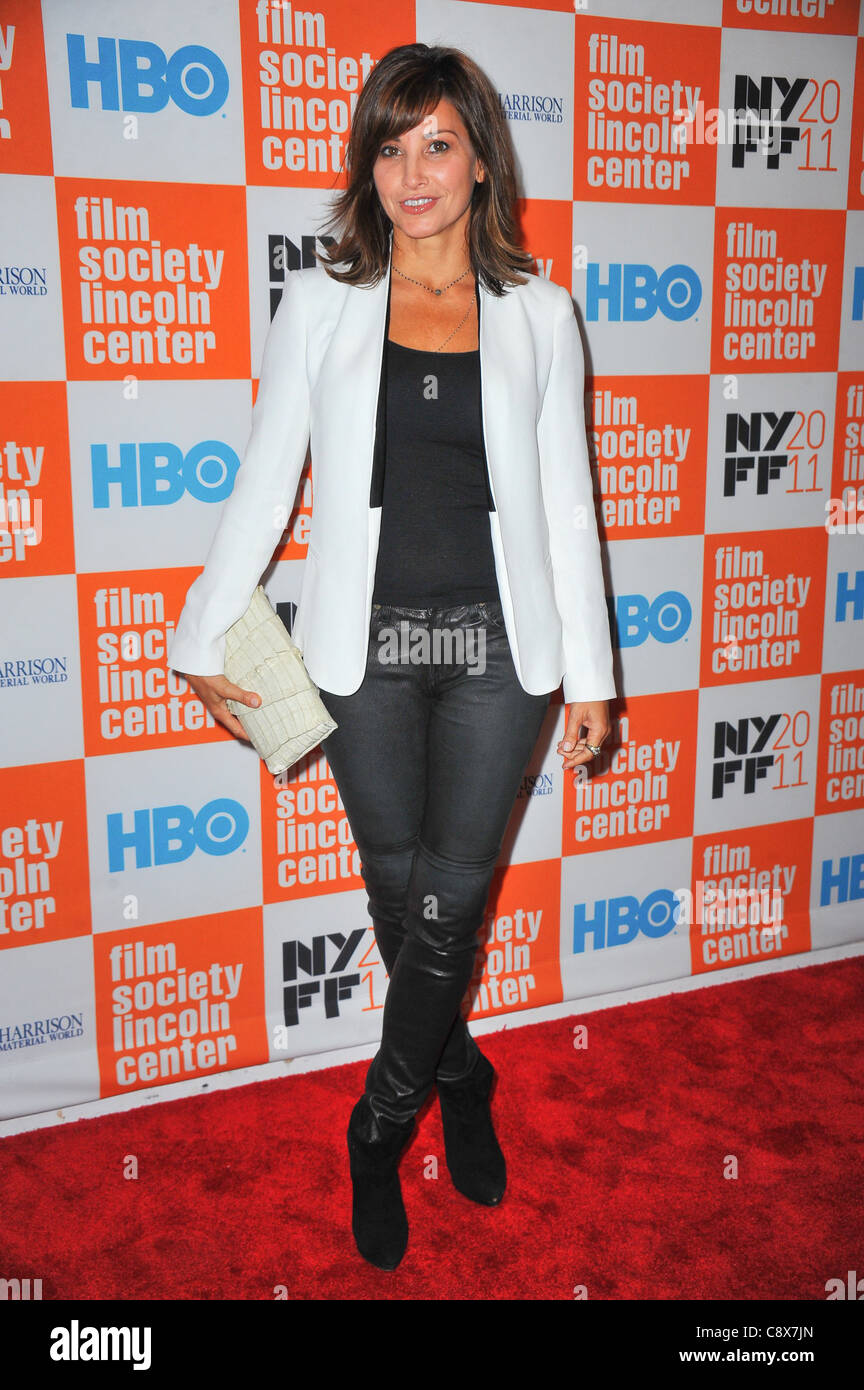 Gina Gershon arrivals GEORGE HARRISON LIVING INMATERIAL WORLD Premiere49th New York Film Festival NYFF Alice Tully - Stock Image