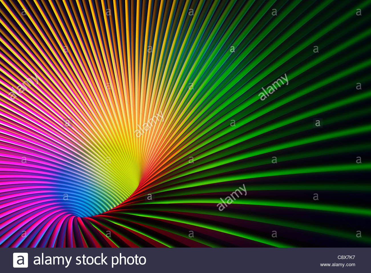 Abstract lines vanishing into glowing hole - Stock Image