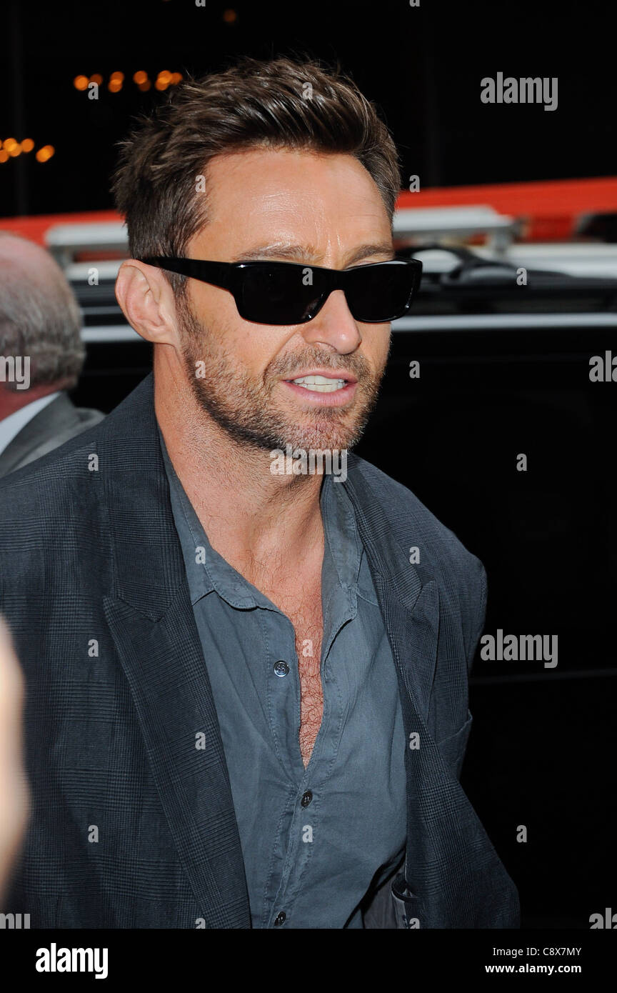 Hugh Jackman entersMTV Studios out about CELEBRITY CANDIDS - TUE New York NY October 4 2011 Photo Ray Tamarra/Everett - Stock Image