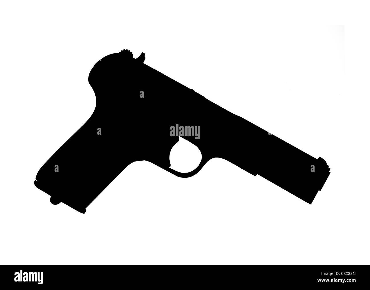 Silhouette of a handgun - Stock Image