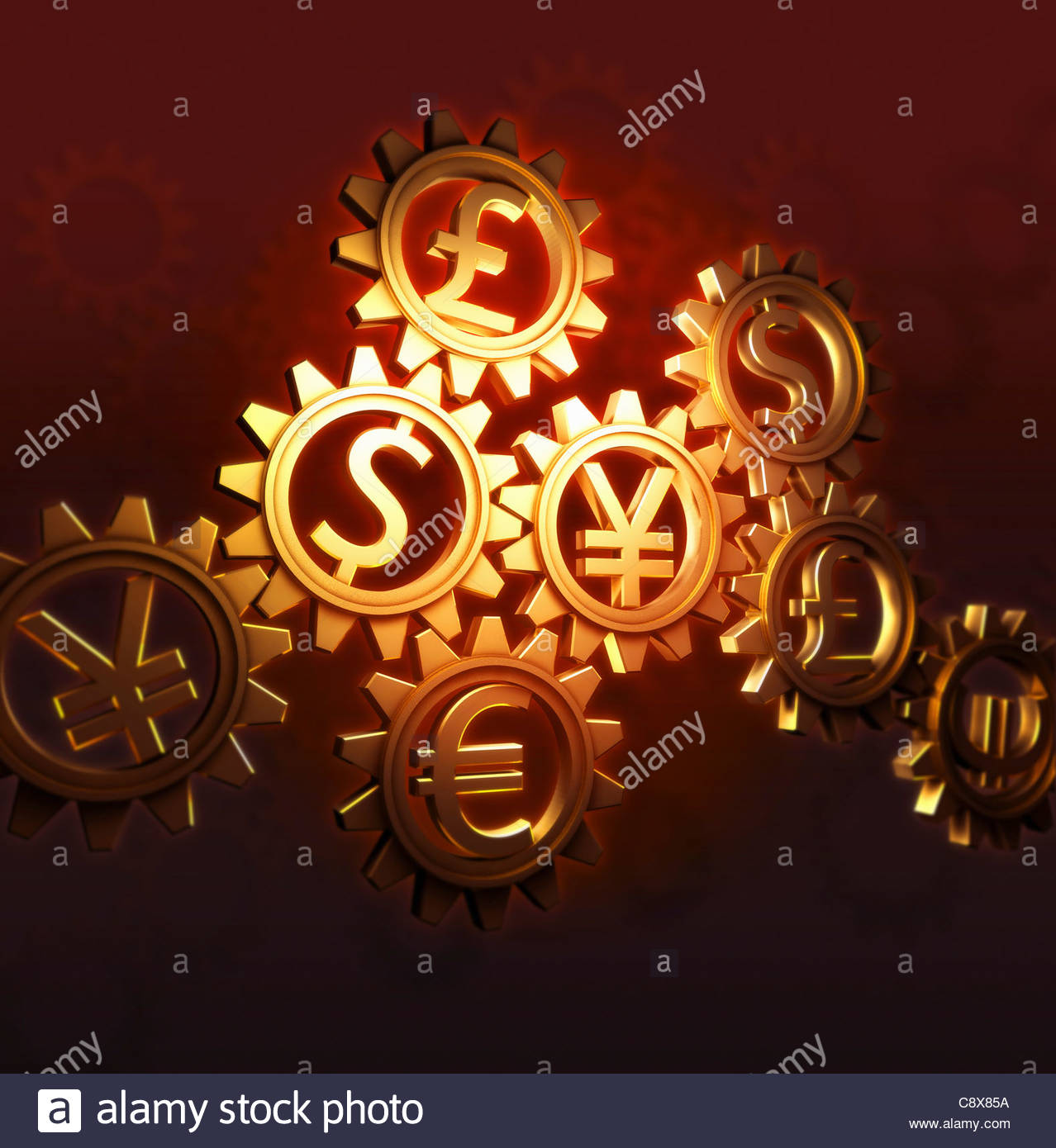 Connected cogs with currency symbols - Stock Image
