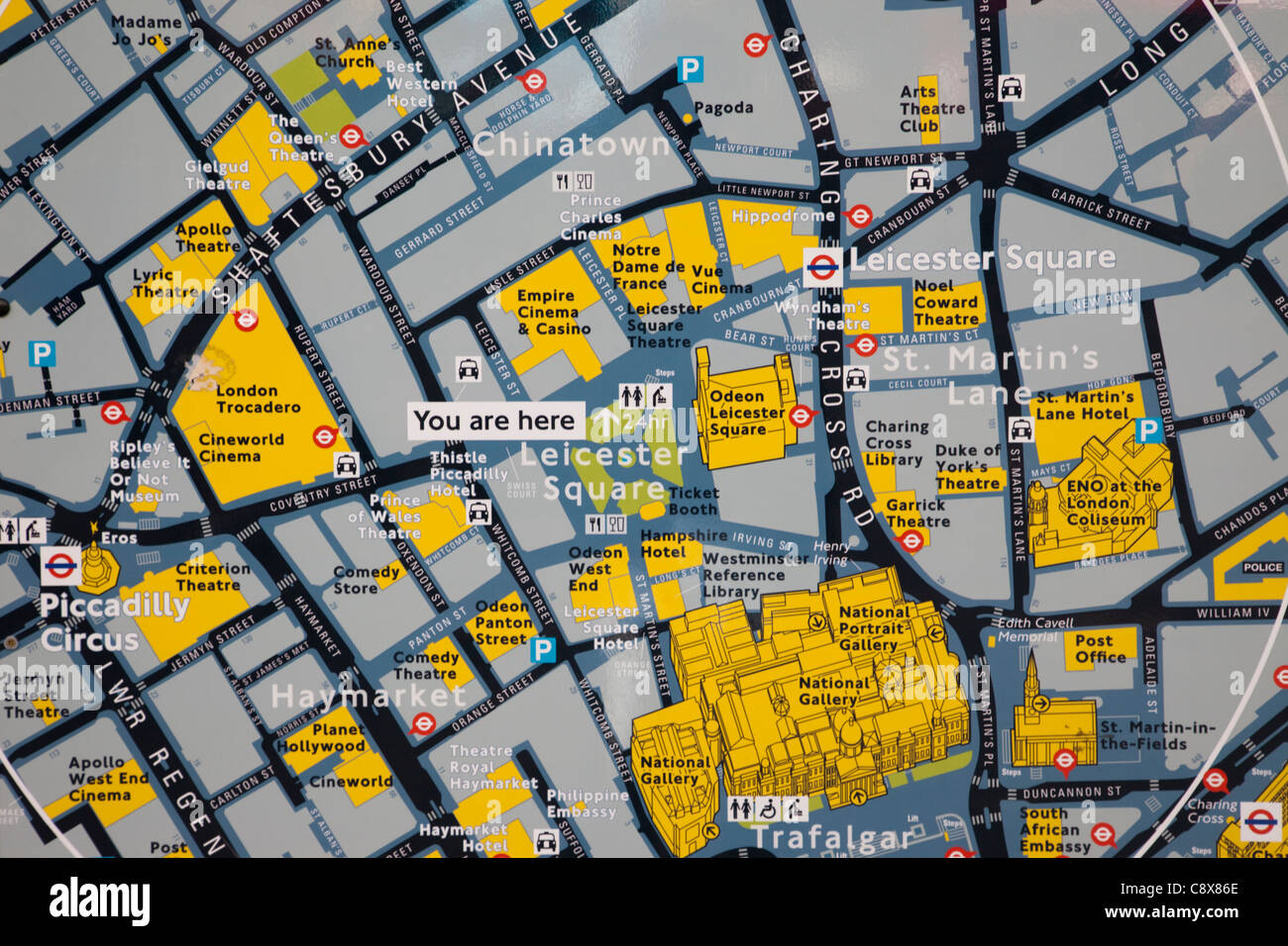 Tourist Map London.England London Leicester Square Tourist Information Map Stock