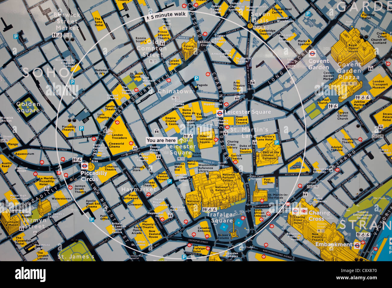 London Tourist Information Map.England London Leicester Square Tourist Information Map Stock