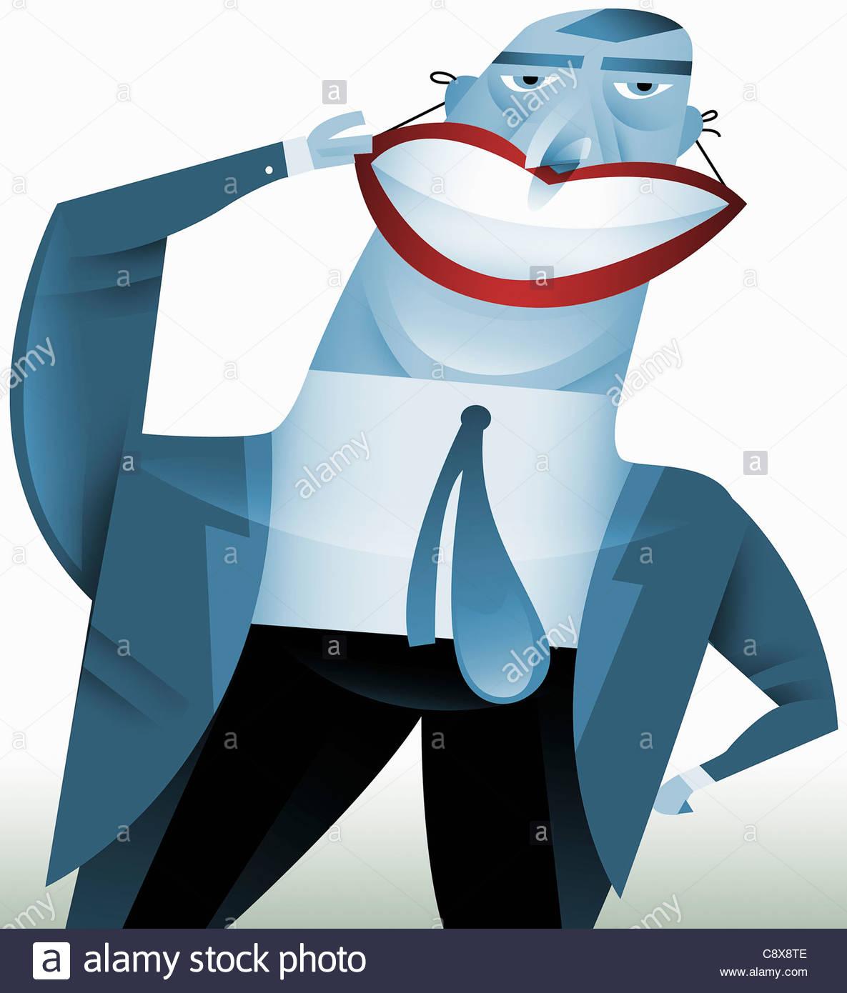 Businessman wearing false smile - Stock Image