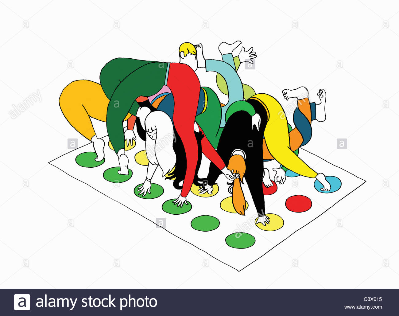 People Playing Twister Game