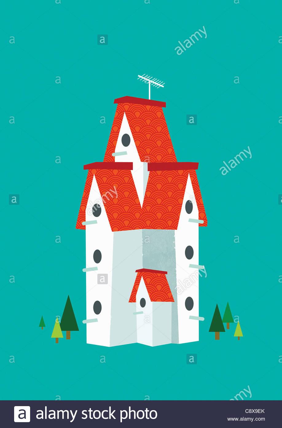 Tall birdhouse - Stock Image