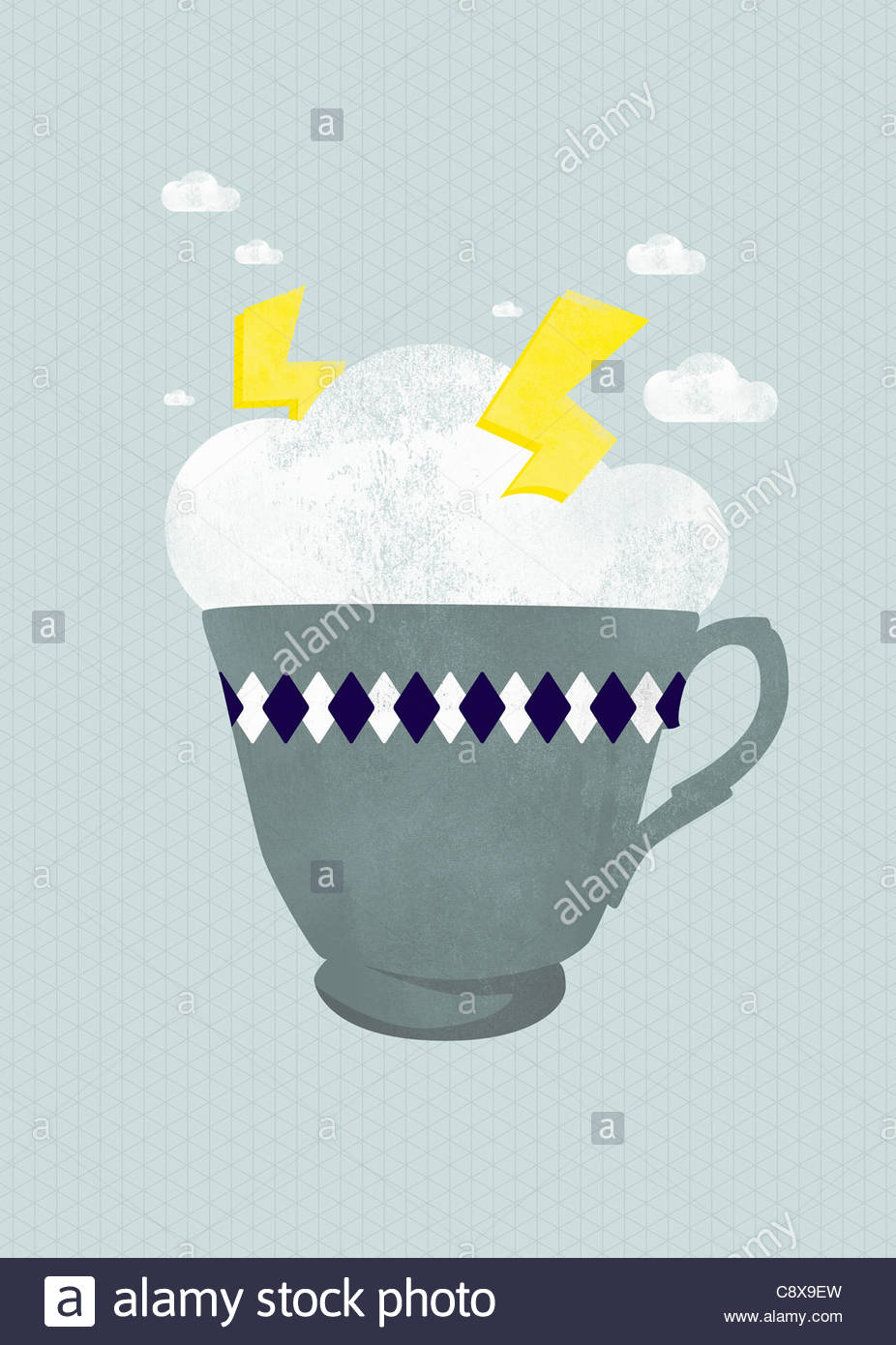 Lightning storm in teacup - Stock Image