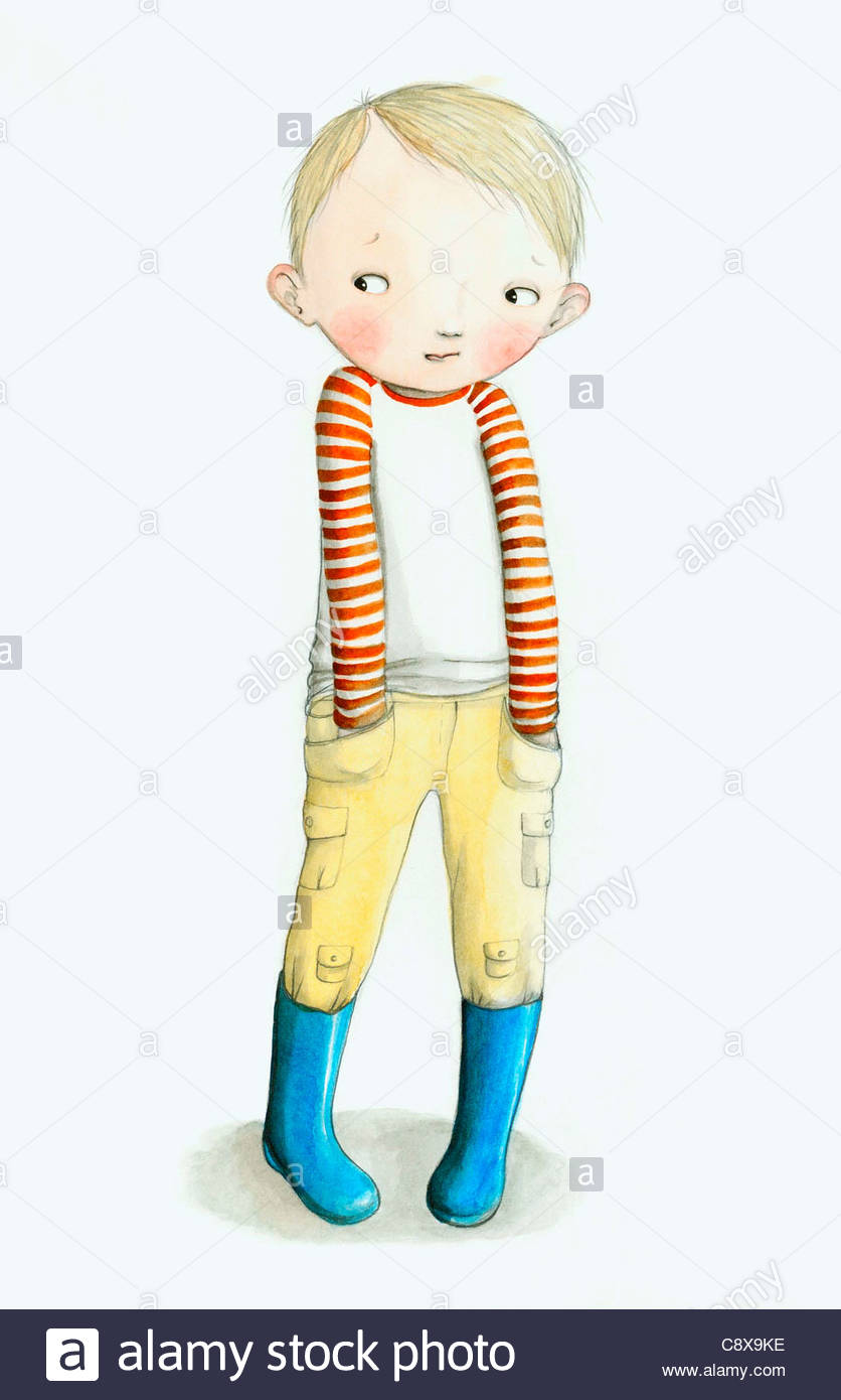Blushing boy with hands in his pockets - Stock Image