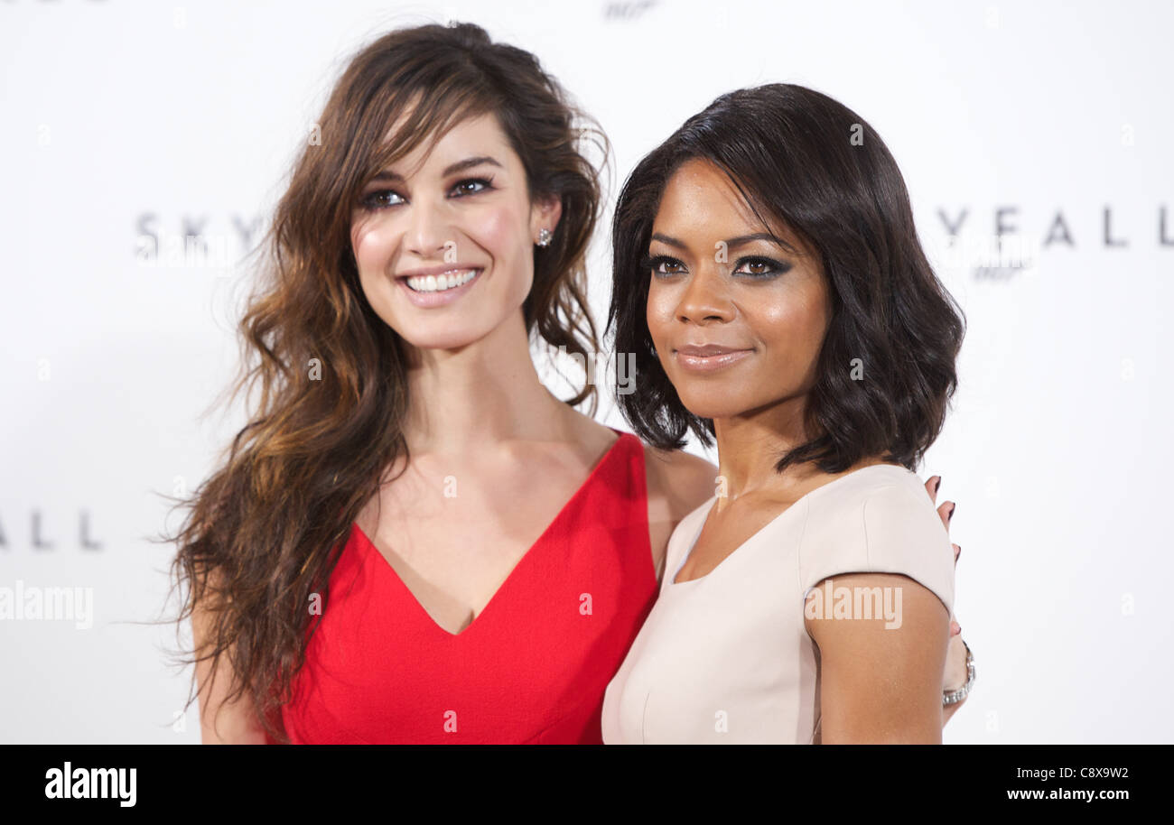 LONDON, UNITED KINGDOM 3 NOVEMBER 2011: Pic Shows Berenice Marlohe and Naomie Harris at the launch photo call of - Stock Image