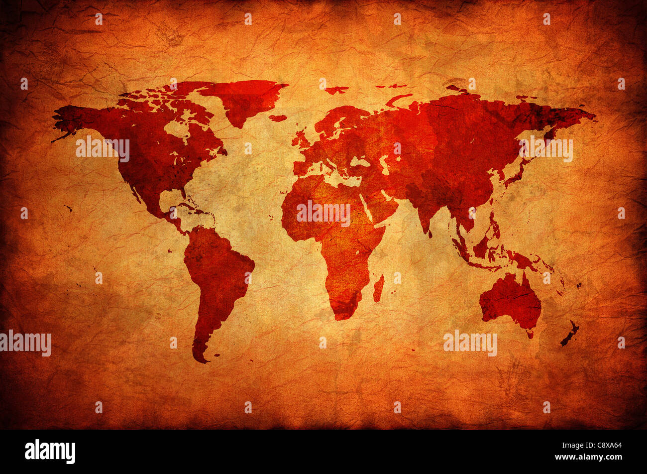 World map on a old canvas. - Stock Image