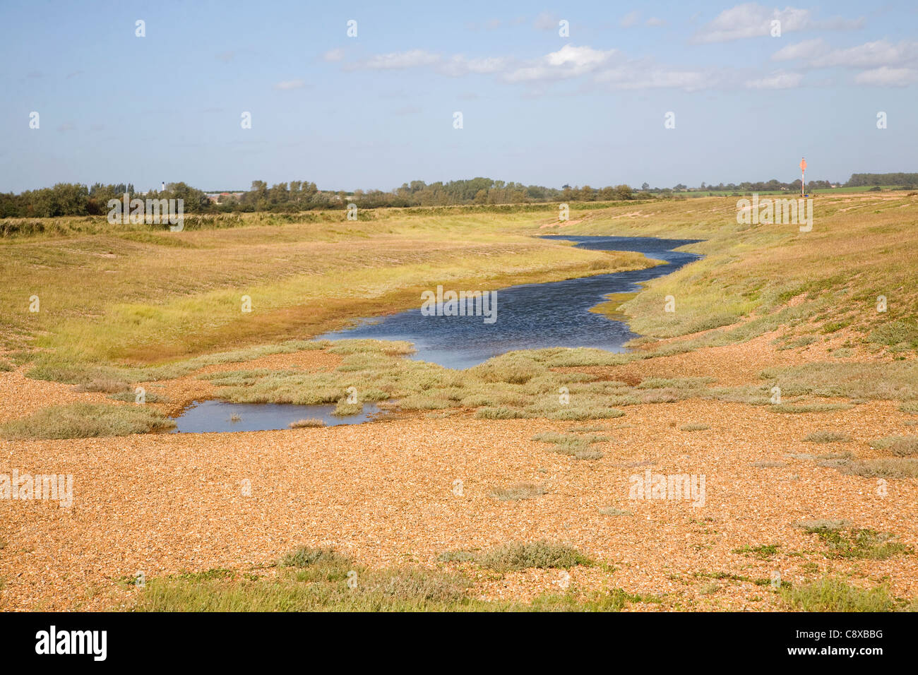 Lagoon lake in slack of shingle dune ridges, Shingle Street, Suffolk, England - Stock Image
