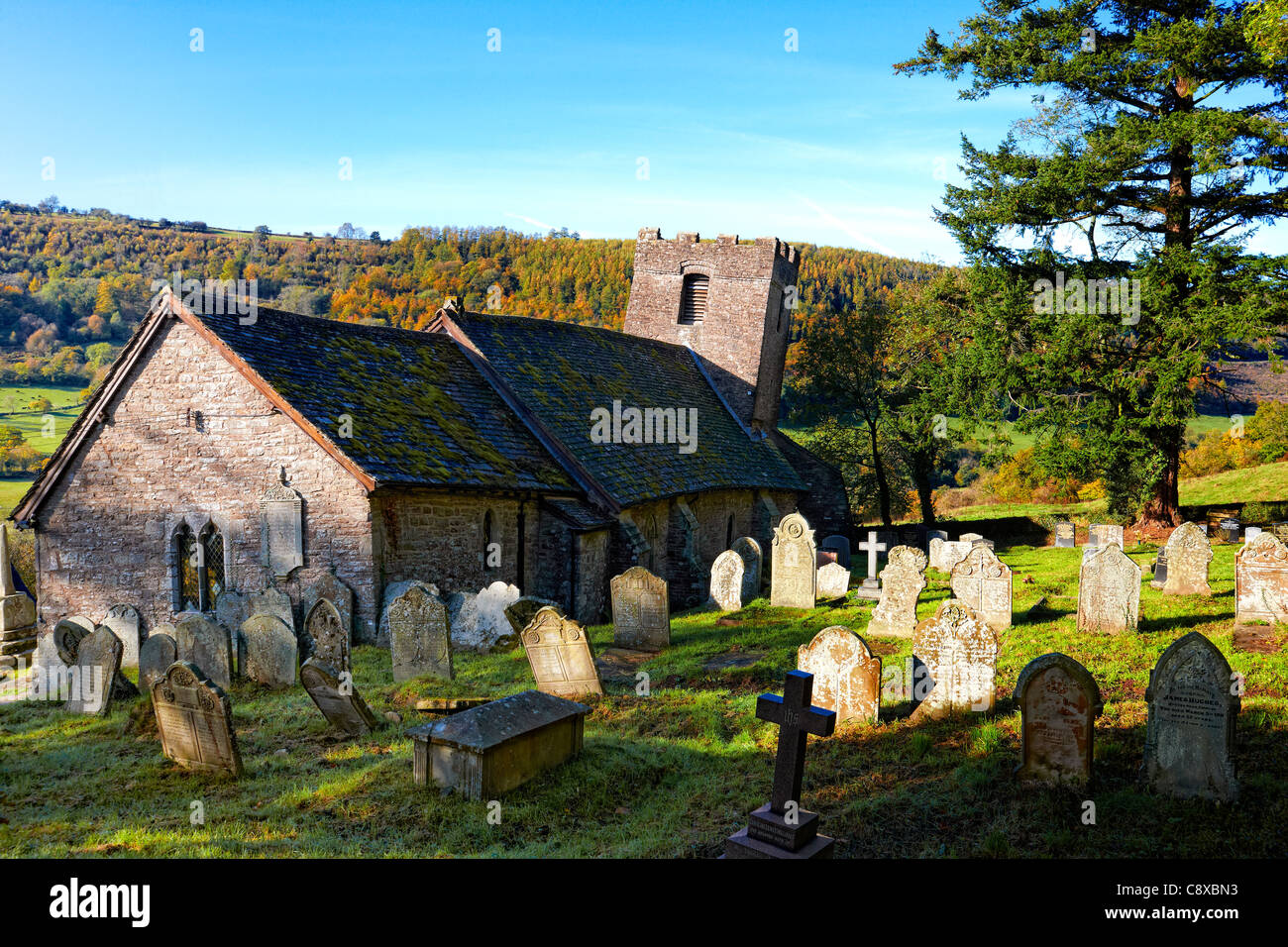 Cwmyoy church in the Vale of Ewyas, Brecon Beacons National Park. It has been described as the most crooked church - Stock Image
