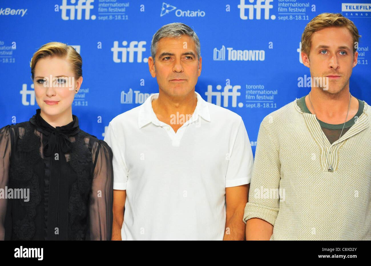 Evan Rachel Wood George Clooney Ryan Gosling atpress conferenceIDES MARCH Press Conference Toronto International - Stock Image