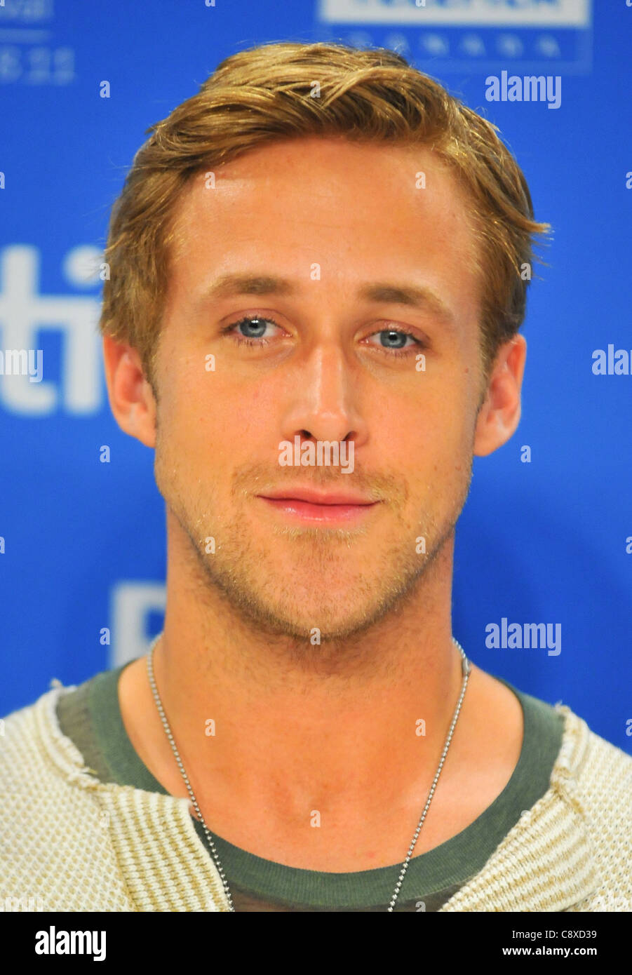 Ryan Gosling atpress conferenceIDES MARCH Press Conference Toronto International Film Festival TIFF Bell Lightbox Stock Photo