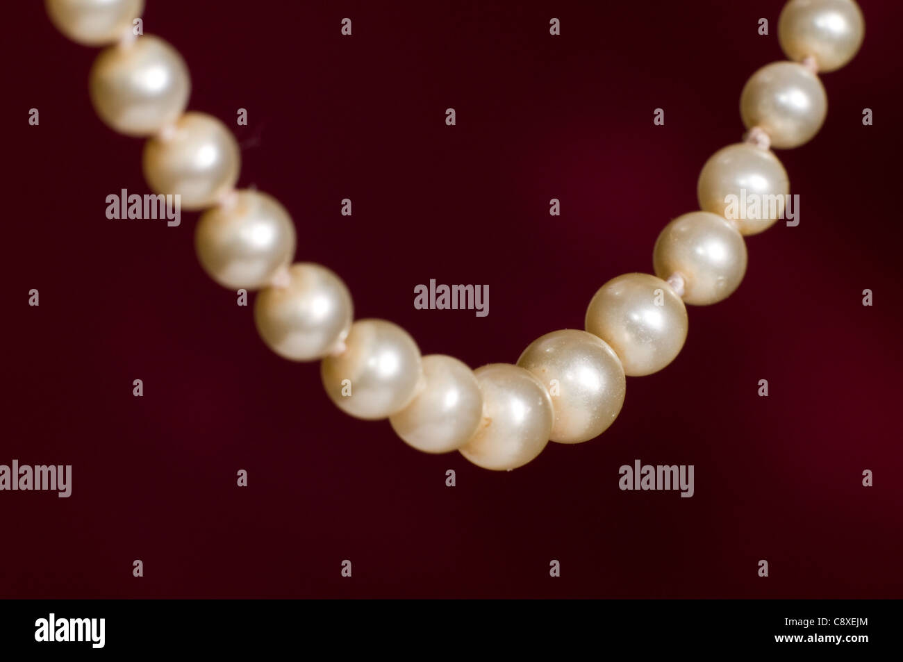 genuine pearl necklace - Stock Image