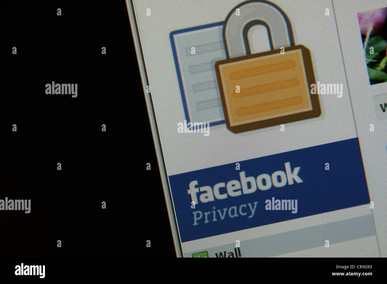 facebook privacy online - Stock Image