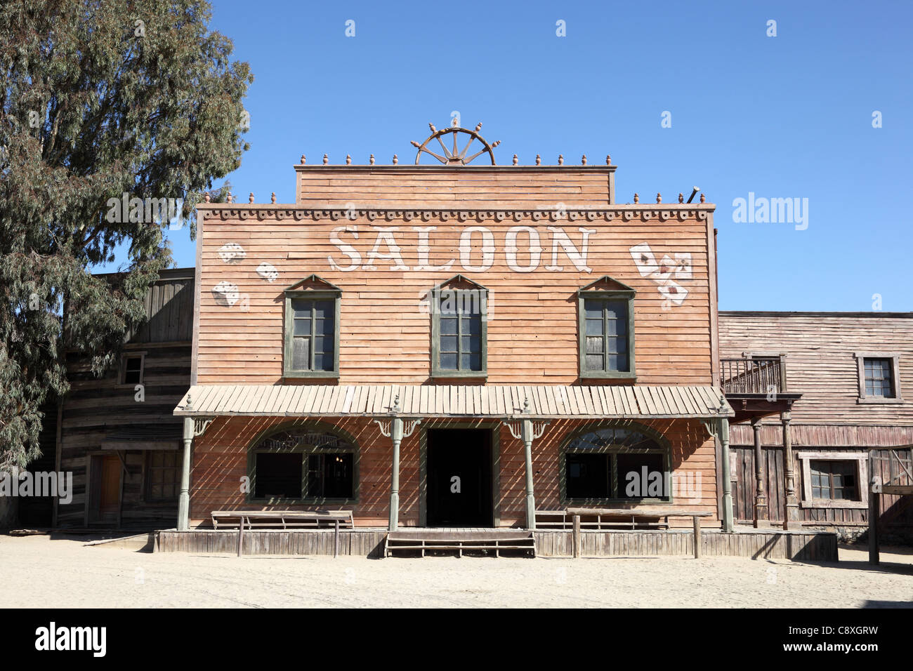 western style saloon in an old american town stock photo 39921949 alamy. Black Bedroom Furniture Sets. Home Design Ideas