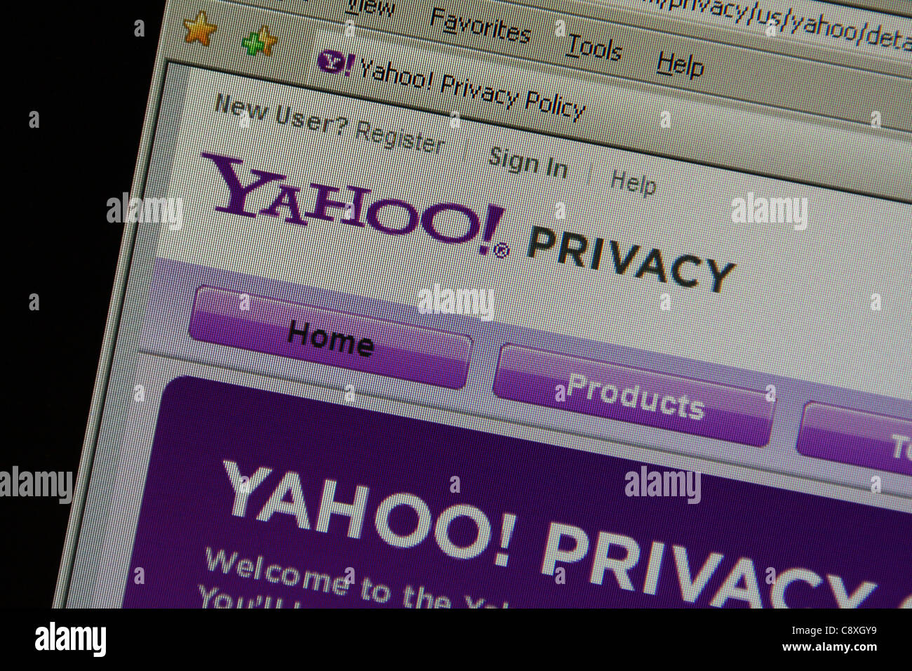 yahoo online privacy - Stock Image