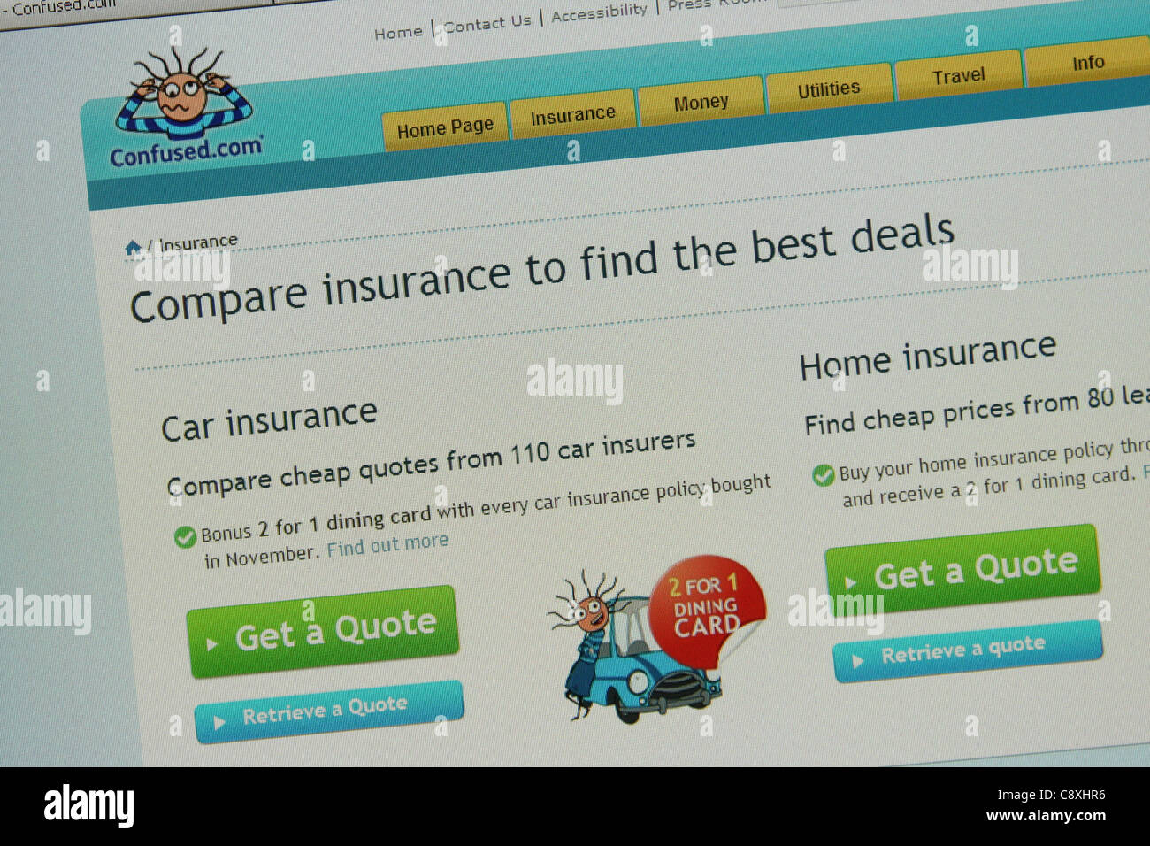 compare insurance online confused.com - Stock Image