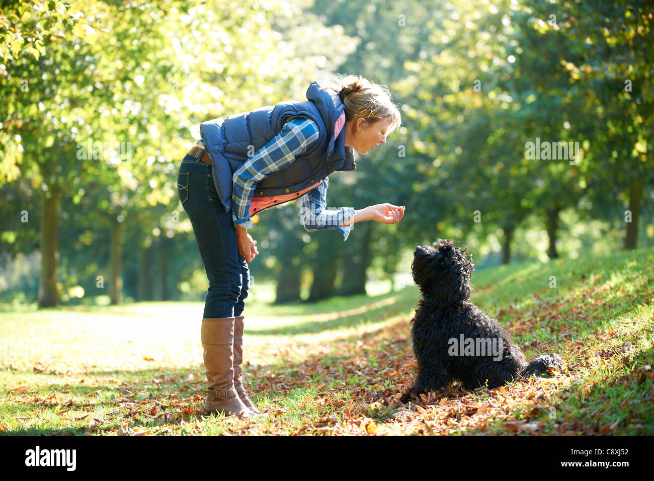 woman with black dog on a walk in the park - Stock Image